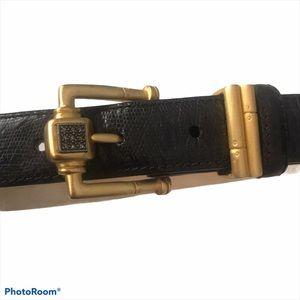 JUDITH JACK Calfskin Black Belt Gold Buckle Sz S